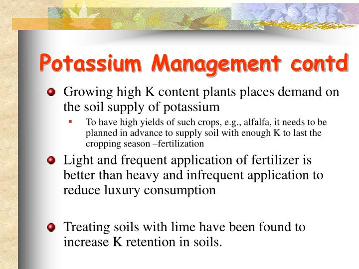 Potassium Management contd