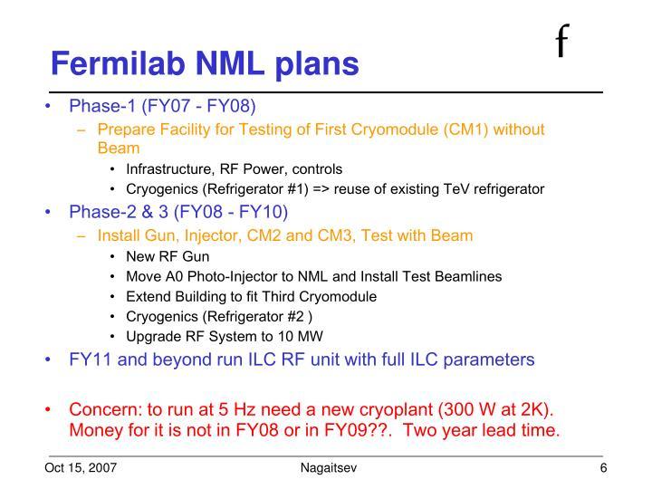 Fermilab NML plans