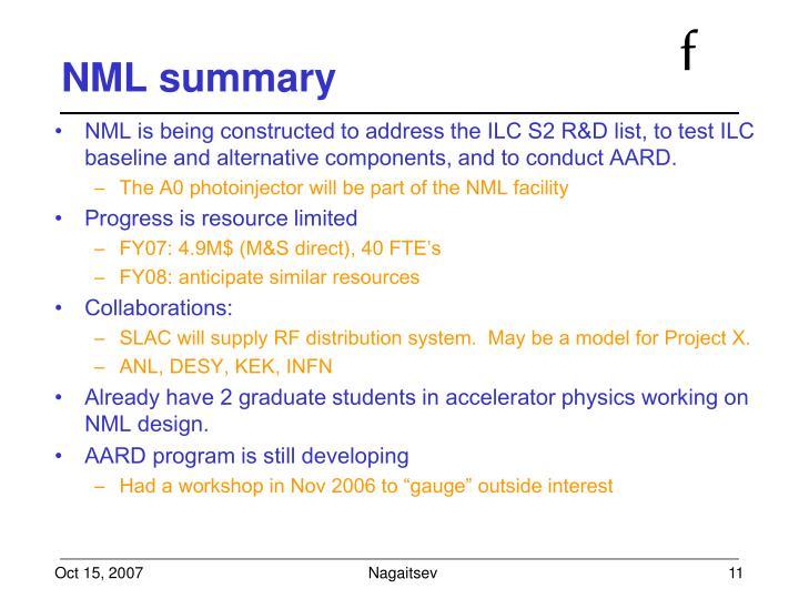 NML summary