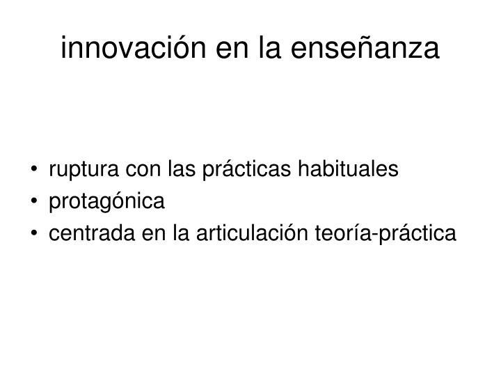 innovación en la enseñanza