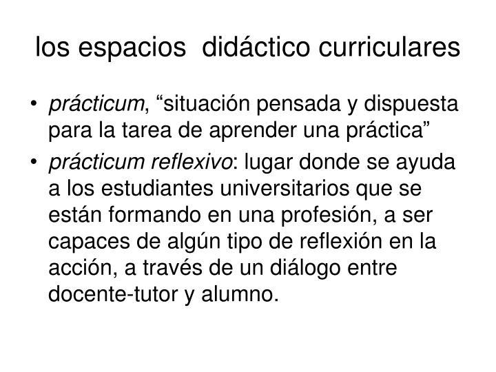 los espacios  didáctico curriculares
