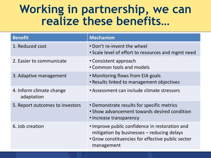 Working in partnership, we can realize these benefits…