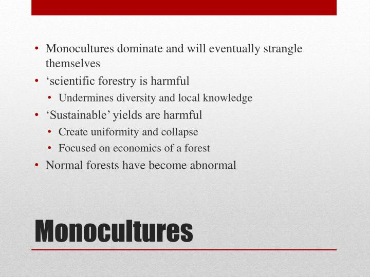 Monocultures dominate and will eventually strangle themselves