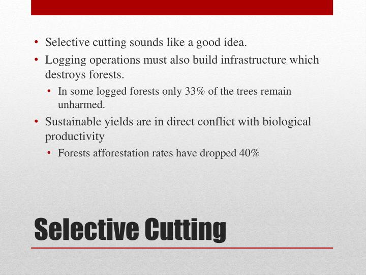 Selective cutting sounds like a good idea.