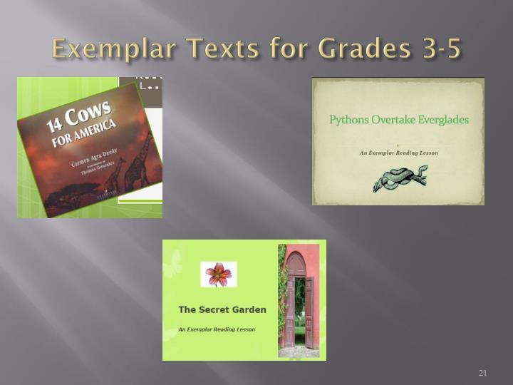 Exemplar Texts for Grades 3-5