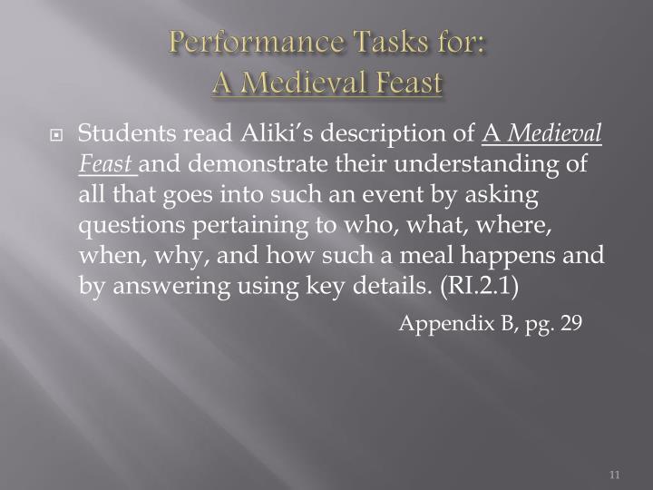 Performance Tasks for: