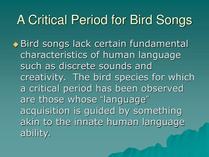 A Critical Period for Bird Songs