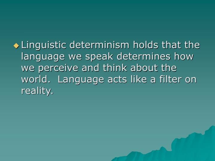 Linguistic determinism holds that the language we speak determines how we perceive and think about the world.  Language acts like a filter on reality.