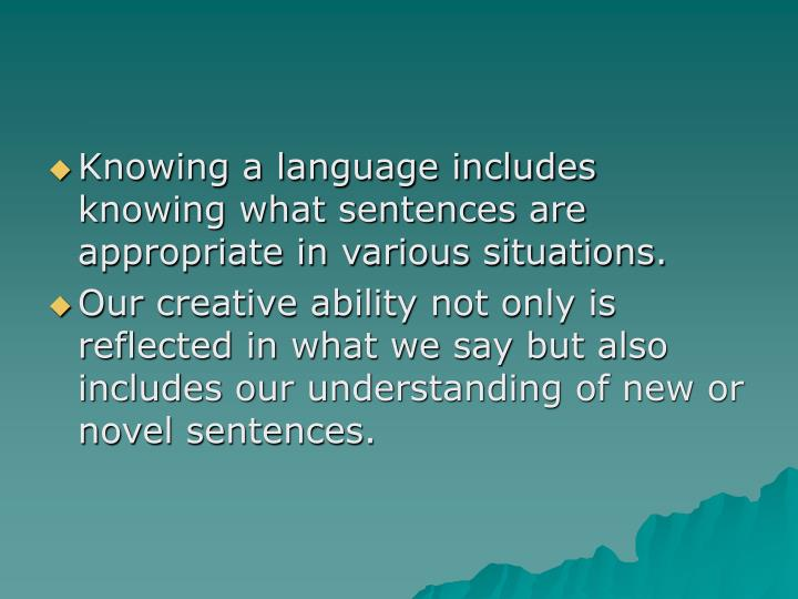 Knowing a language includes knowing what sentences are appropriate in various situations.