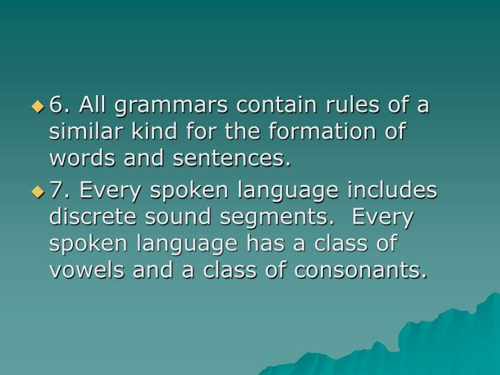 6. All grammars contain rules of a similar kind for the formation of words and sentences.