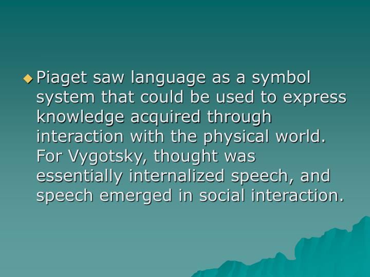 Piaget saw language as a symbol system that could be used to express knowledge acquired through interaction with the physical world.  For Vygotsky, thought was essentially internalized speech, and speech emerged in social interaction.