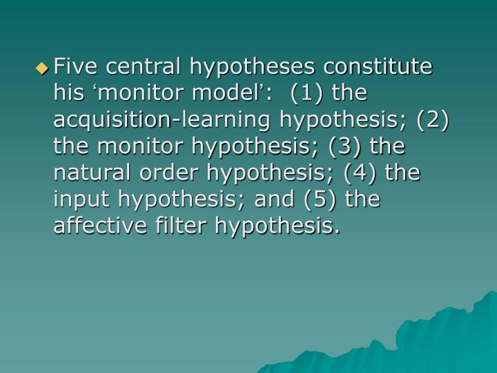 Five central hypotheses constitute his