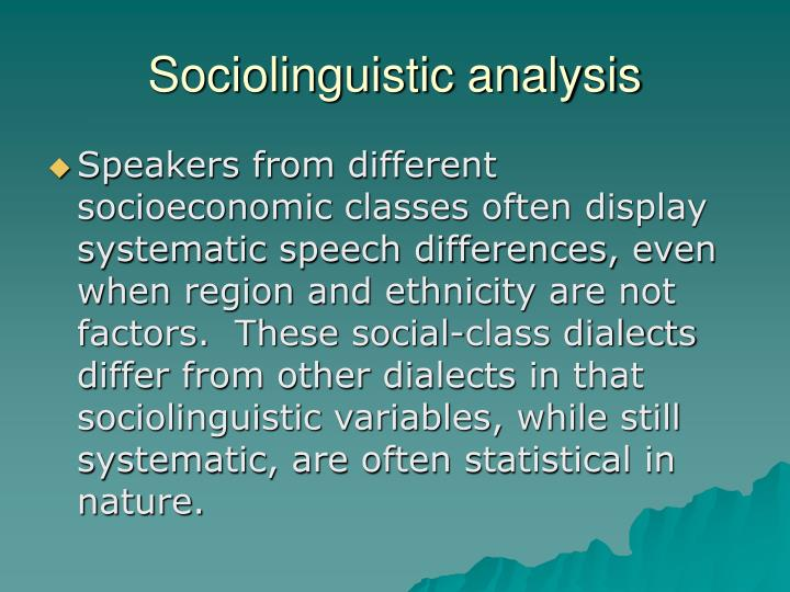 Sociolinguistic analysis