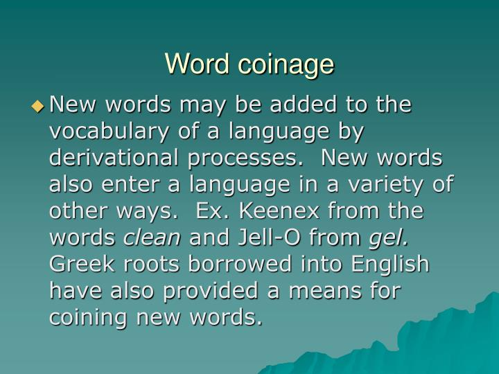 Word coinage