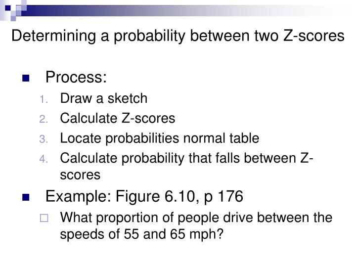 Determining a probability between two Z-scores