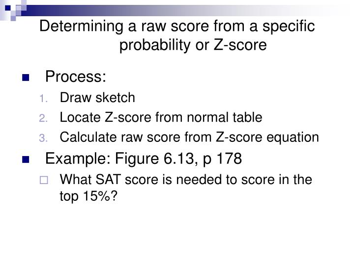 Determining a raw score from a specific probability or Z-score