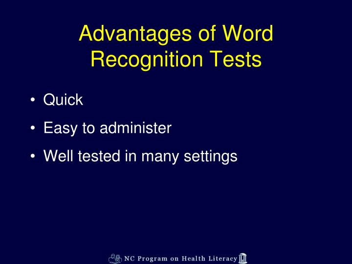 Advantages of Word Recognition Tests