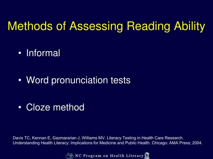 Methods of Assessing Reading Ability