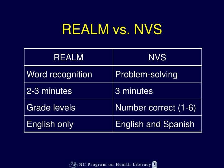 REALM vs. NVS