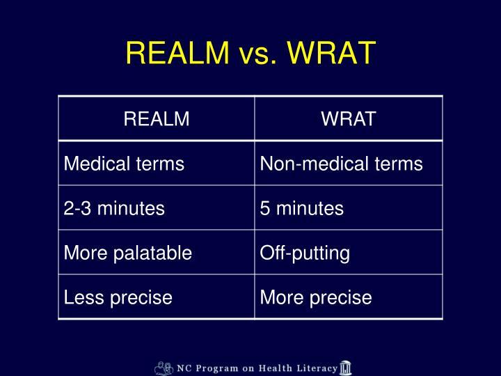 REALM vs. WRAT