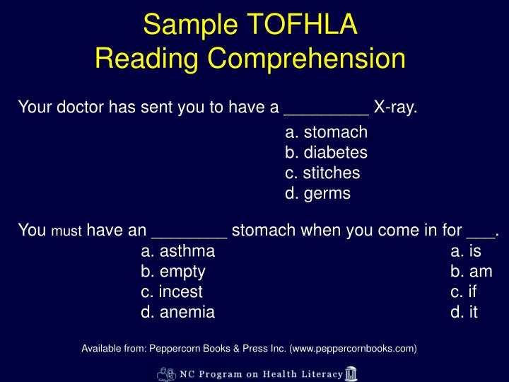 Sample TOFHLA