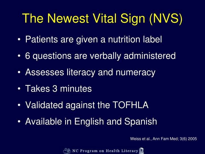 The Newest Vital Sign (NVS)