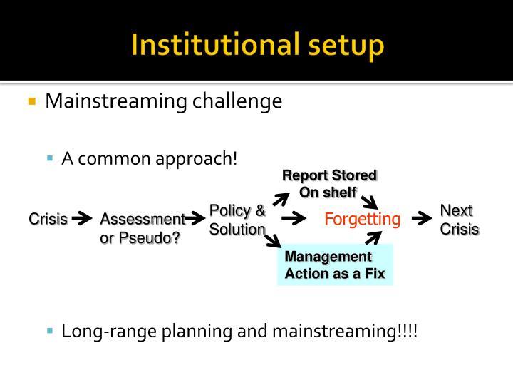 Institutional setup