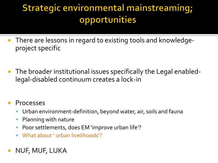 Strategic environmental mainstreaming; opportunities