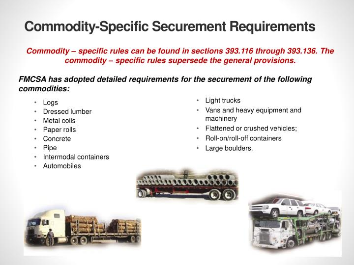 Commodity-Specific Securement Requirements