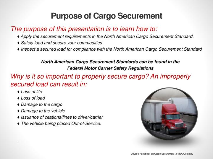 Purpose of Cargo Securement