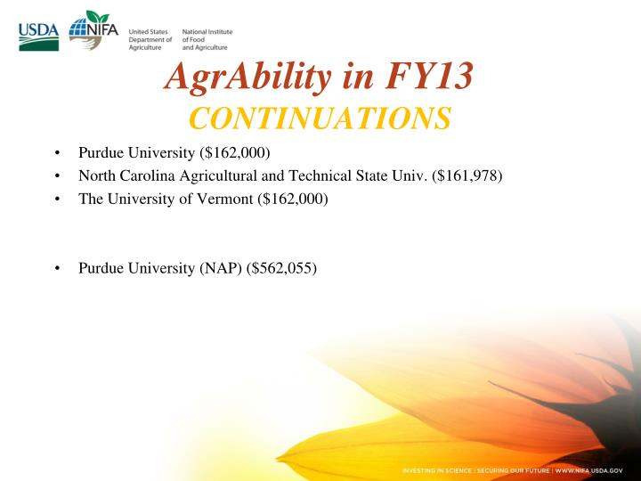 AgrAbility in FY13