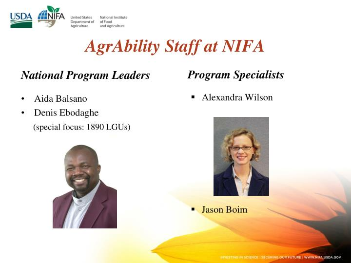 AgrAbility Staff at NIFA