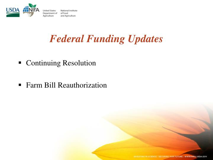 Federal Funding Updates