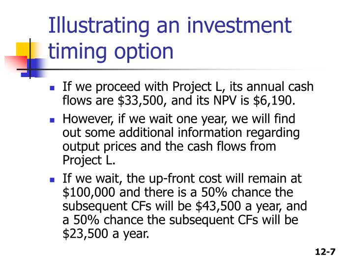 Illustrating an investment timing option