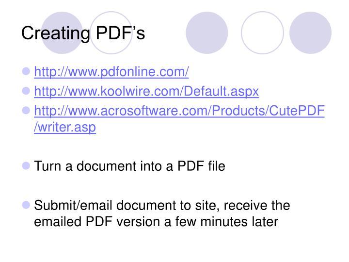 Creating PDF's