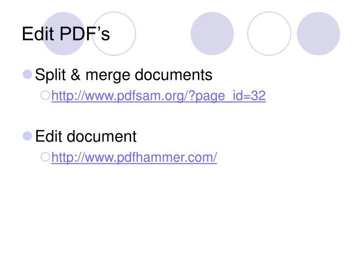 Edit PDF's