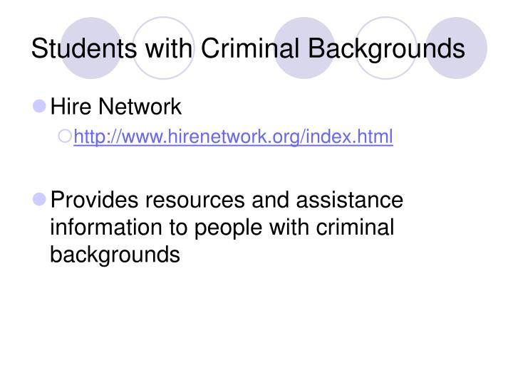 Students with Criminal Backgrounds