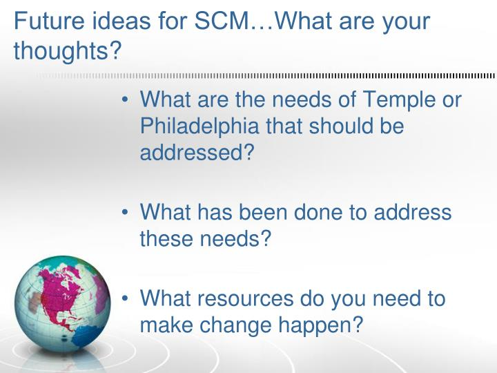 Future ideas for SCM…What are your thoughts?