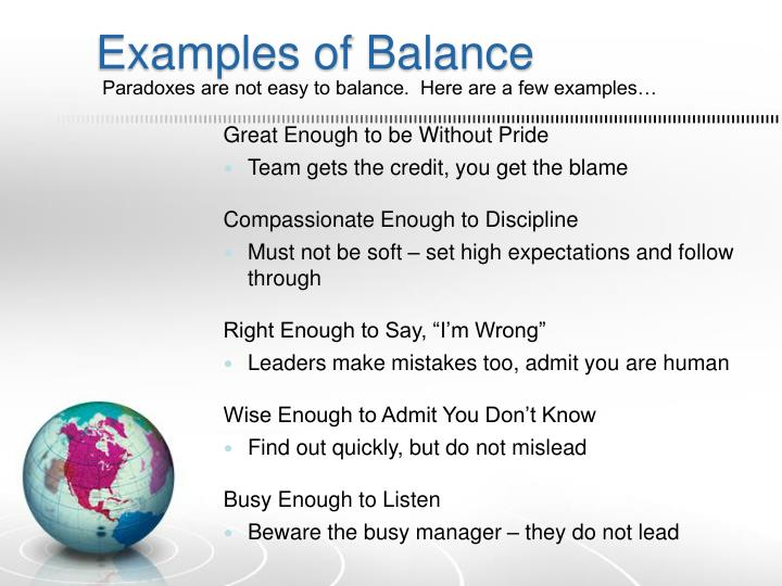 Examples of Balance