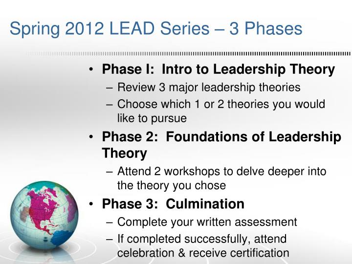 Spring 2012 LEAD Series – 3 Phases