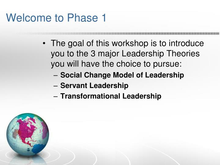 Welcome to Phase 1
