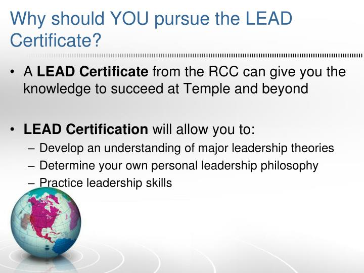 Why should YOU pursue the LEAD Certificate?