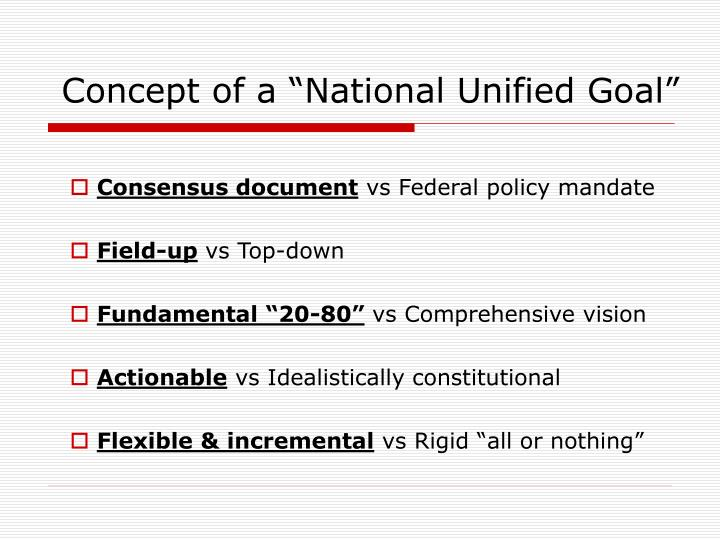 "Concept of a ""National Unified Goal"""
