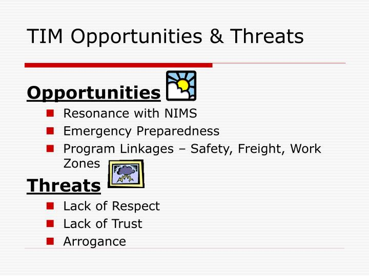 TIM Opportunities & Threats