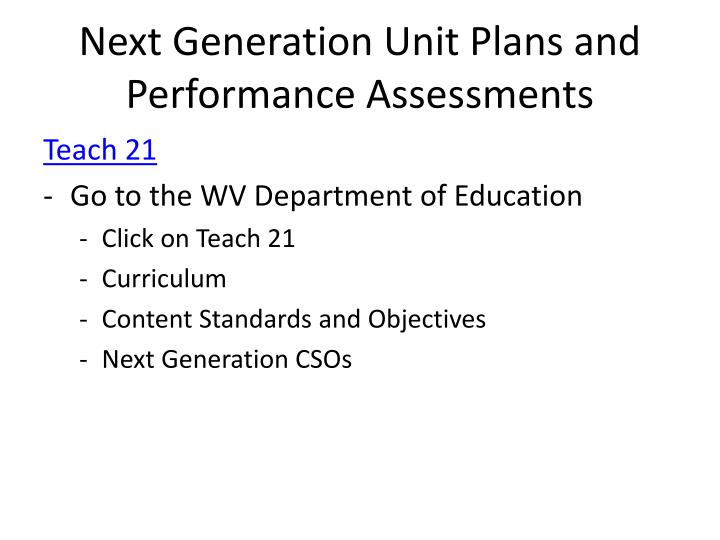 Next Generation Unit Plans and Performance Assessments