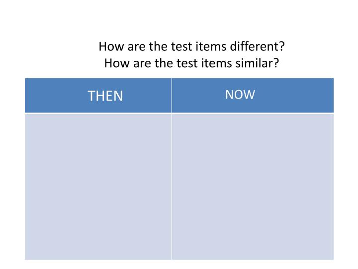 How are the test items different?