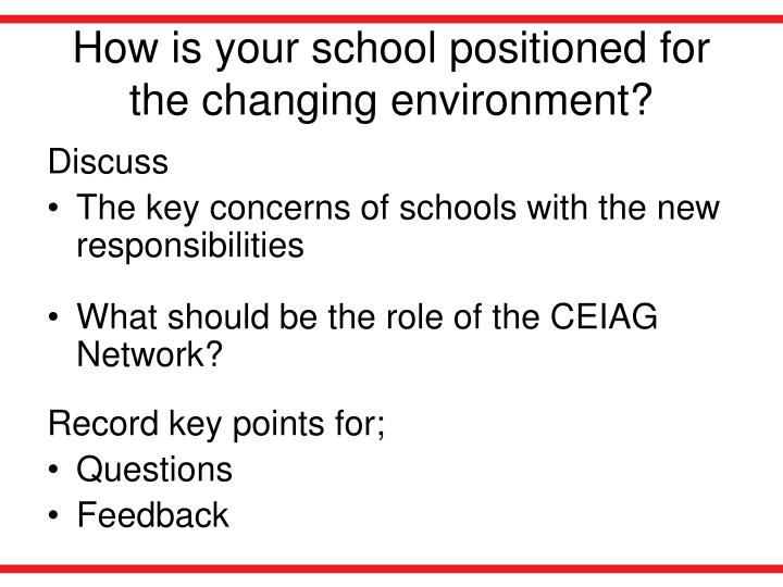 How is your school positioned for the changing environment?