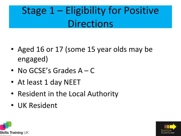 Stage 1 – Eligibility for Positive Directions