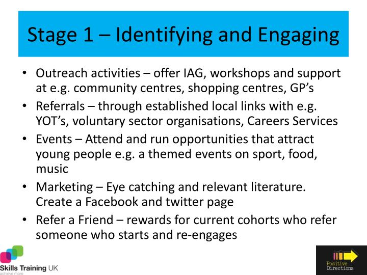 Stage 1 – Identifying and Engaging