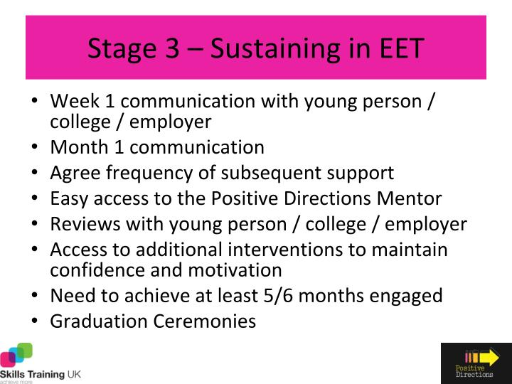 Stage 3 – Sustaining in EET